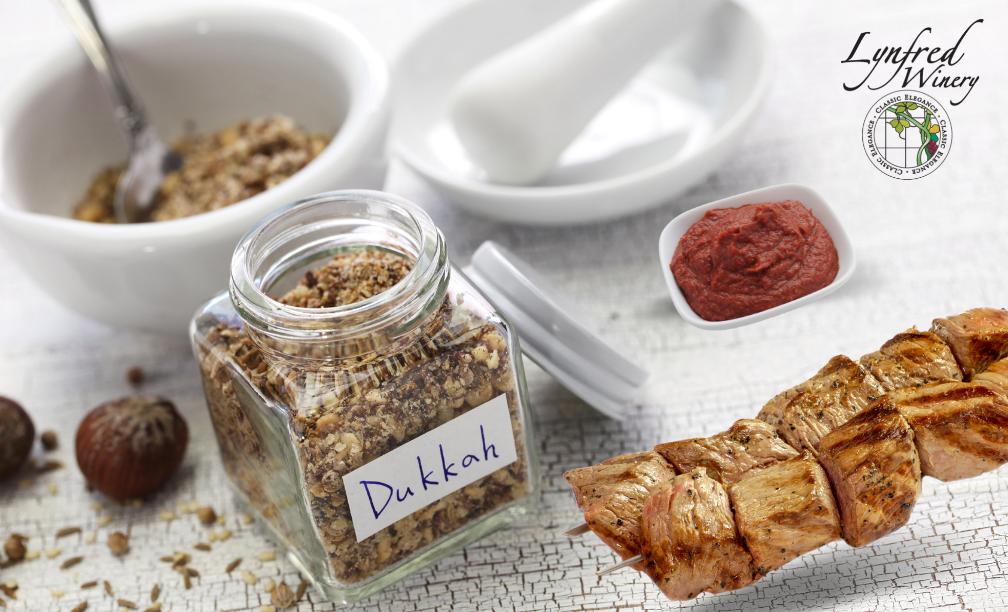 Beef Skewers with Dukkah & Tahini Sauce