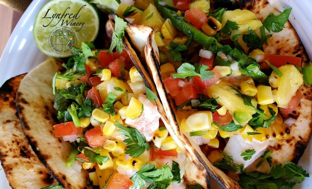 Crab & Shrimp Tacos with Grilled Pineapple & Corn Salsa