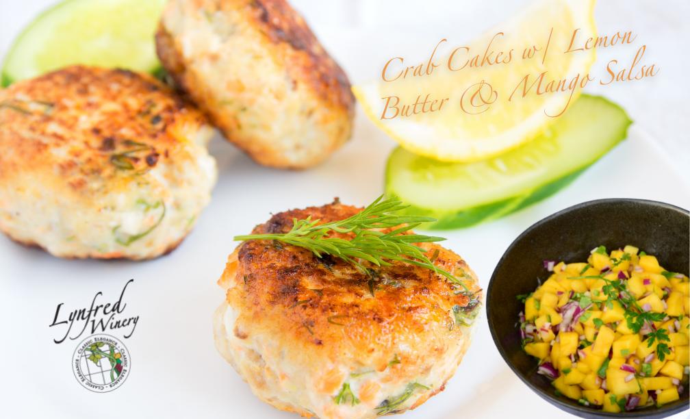 Crab Cakes w/ Lemon Butter & Mango Salsa